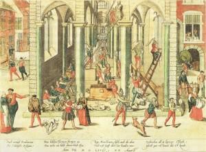 Kupferstich von Frans Hogenberg: Calvinisten zerstören Kunstwerke in der Liebfrauenkathedrale von Antwerpen, Lizenz: gemeinfrei