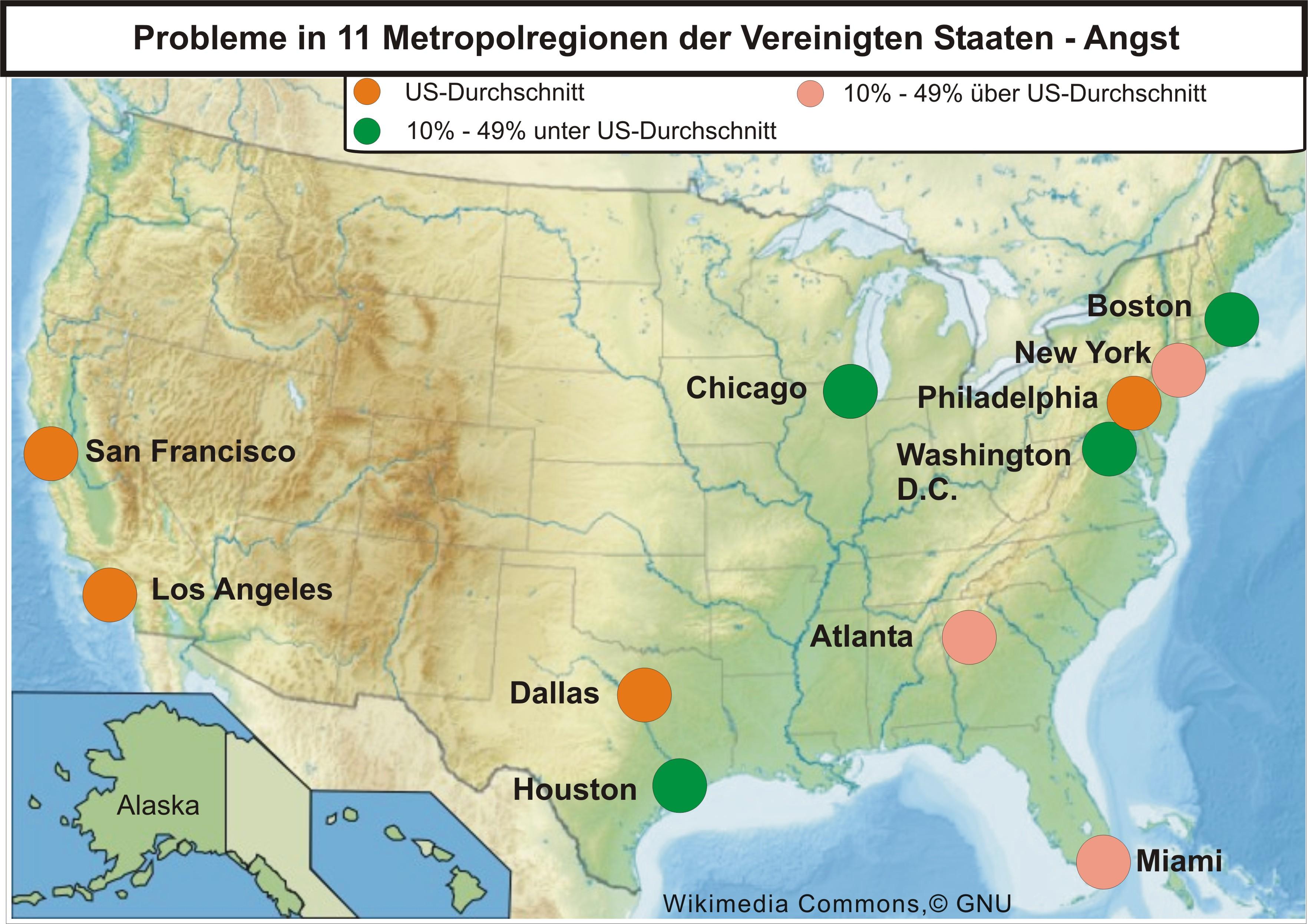 Karte mit den 11 Metropolen der USA für das Problem Angst.