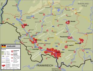 Übersichtskarte Saarland