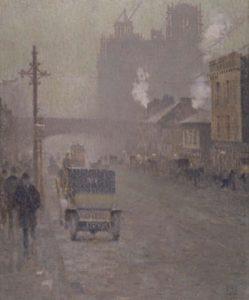Ölbild Oxford Road in Manchester, 1910